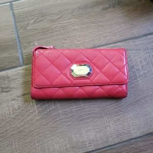 DKNY red quilted continental wallet folding